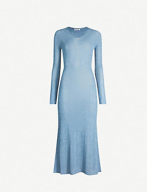 LANVIN Metallic semi-sheer woven midi dress