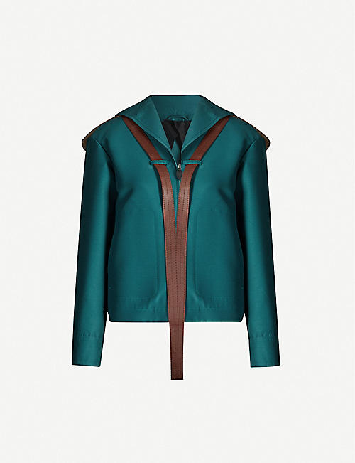 LANVIN Leather-trim cropped wool and silk-blend jacket