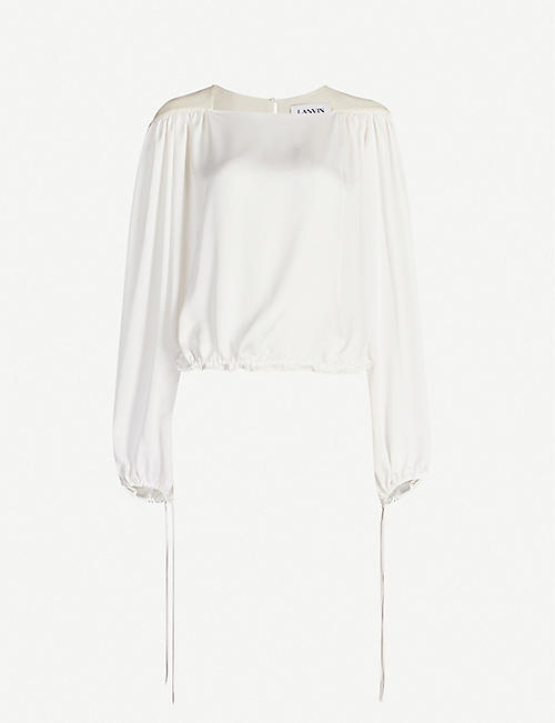 LANVIN Relaxed-fit cropped satin-crepe blouse