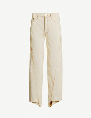 LANVIN Herringbone-textured straight cotton trousers