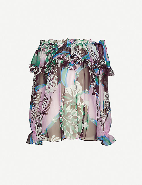 EMILIO PUCCI Floral-print frilled silk-crepe top