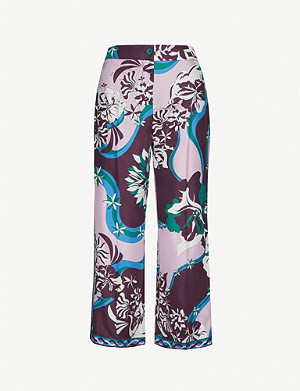 EMILIO PUCCI Cropped high-rise signature-print silk-twill wide-leg trousers