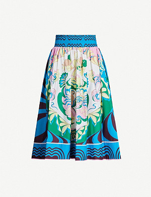 EMILIO PUCCI High-waist pleated signature-print stretch-cotton midi skirt