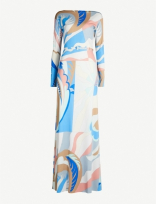 EMILIO PUCCI Abstract print long-sleeved maxi dress