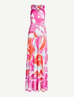 EMILIO PUCCI Abstract-print pleated V-neck jersey maxi dress