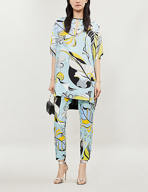ddfe29e366f EMILIO PUCCI Printed silk-crepe and wool short-sleeved top