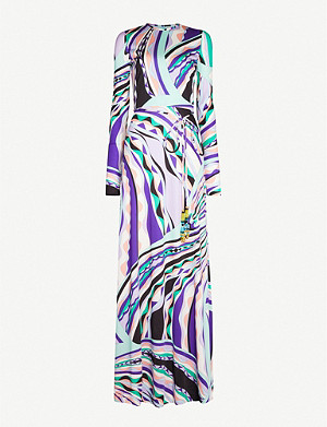 EMILIO PUCCI Graphic-pattern silk maxi dress