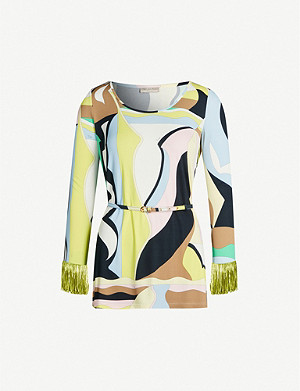EMILIO PUCCI Signature-print scoop-neck stretch-jersey top