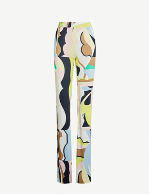 EMILIO PUCCI Printed high-rise crepe trousers