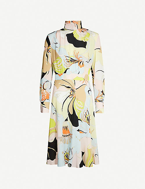 EMILIO PUCCI High-neck signature-print silk dress