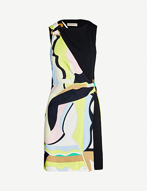 EMILIO PUCCI Brand-print sleeveless stretch-crepe mini dress