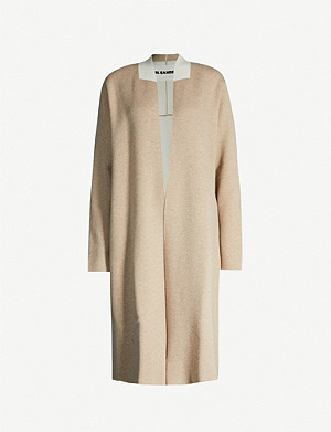 JIL SANDER Open-front wool and cashmere-blend knitted coat