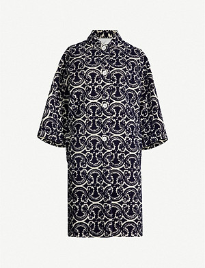 JIL SANDER Cropped-sleeve graphic-print brocade coat