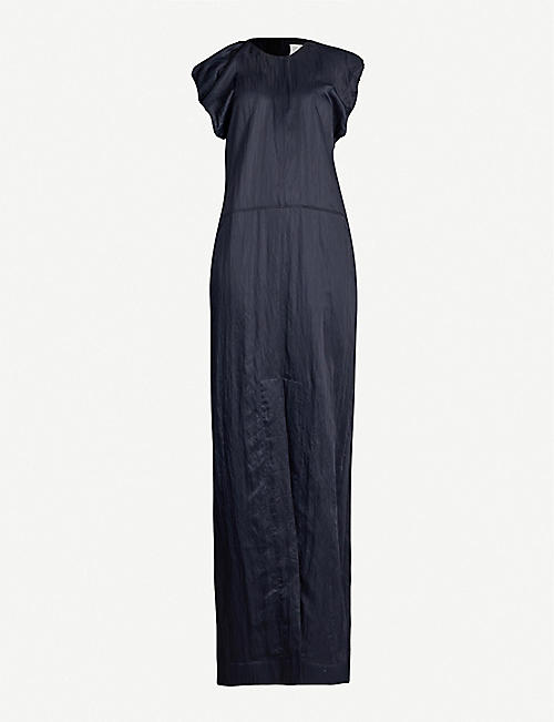 JIL SANDER Laurie puff-sleeved crepe maxi dress