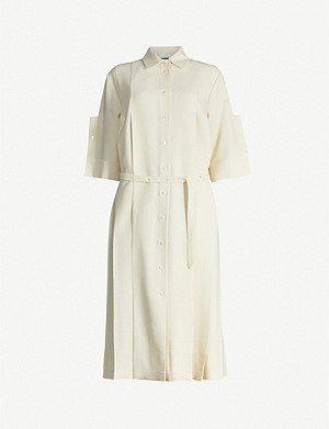 JIL SANDER Lourdes pleated wool and silk-blend shirt midi dress