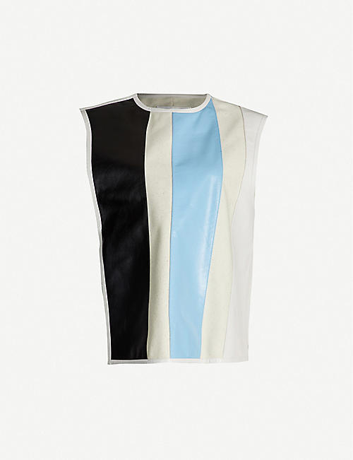 JIL SANDER Lyle colour-blocked leather and wool-blend jacket