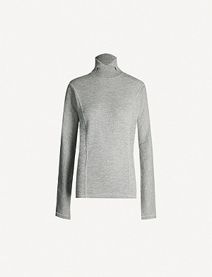 JIL SANDER Split-turtleneck wool and cashmere-blend jumper
