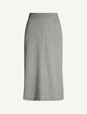 JIL SANDER High-waist wool and cashmere-blend skirt