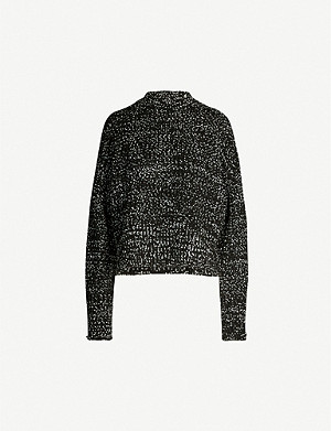 JIL SANDER High neck open-knit wool-blend jumper