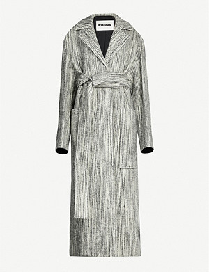 JIL SANDER Striped belted wool-blend coat