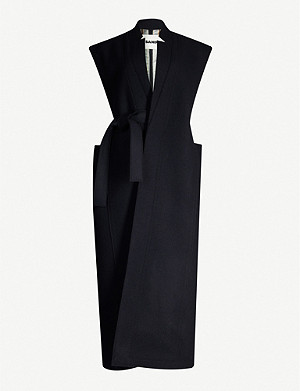 JIL SANDER Sleeveless belted wool-blend coat