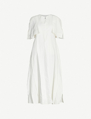 JIL SANDER Split-sleeve linen midi dress