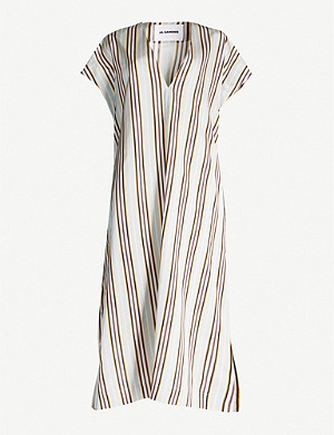JIL SANDER Striped V-neck satin-crepe midi dress