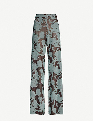 JIL SANDER Floral-pattern high-rise flared wool-blend trousers