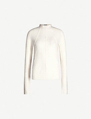 JIL SANDER High-neck cashmere and wool-blend jumper