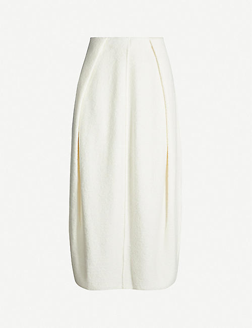 JIL SANDER High-waist cashmere-blend midi skirt