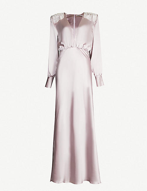 77413a0010 ALESSANDRA RICH Embellished long sleeved V-neck silk maxi dress