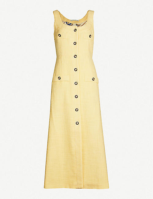 cb820956c9 ALESSANDRA RICH Button-down sleeveless cotton-blend dress