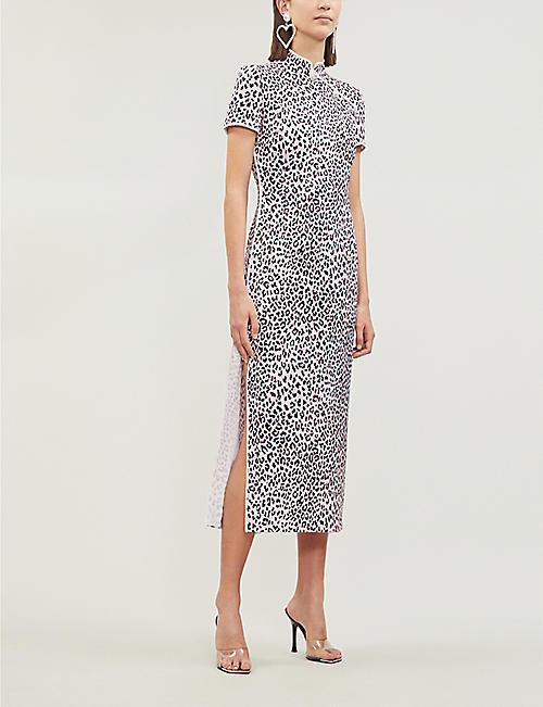 2f292e94b9 ALESSANDRA RICH Leopard-print side-slit silk-satin dress