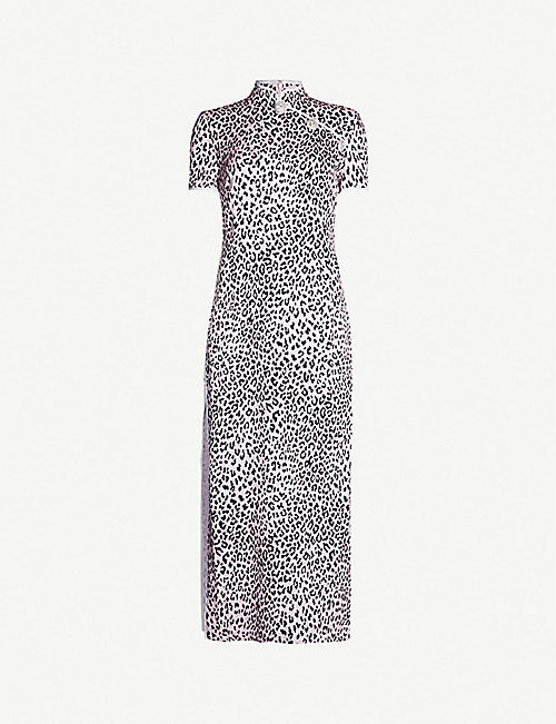 3dd325fec78d38 ALESSANDRA RICH Leopard-print side-slit silk-satin dress
