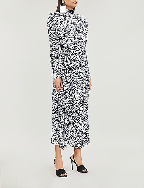 f8bc04ac5b740 ALESSANDRA RICH High-neck leopard-print silk-satin midi dress
