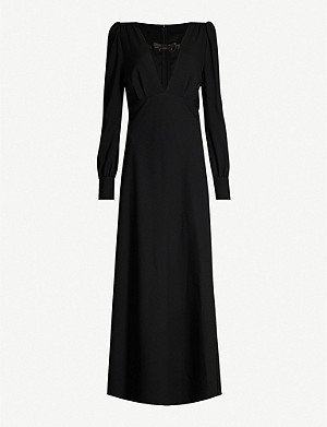 ALESSANDRA RICH Plunge V-neck stretch-wool shift maxi dress