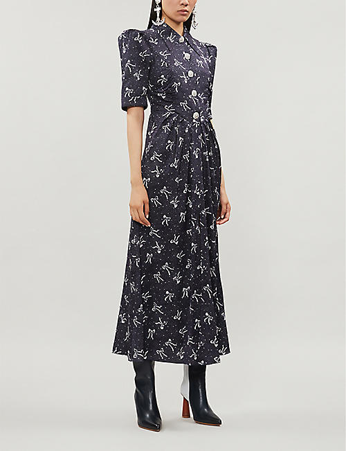 ALESSANDRA RICH Bow-print flared-skirt silk-jacquard maxi dress