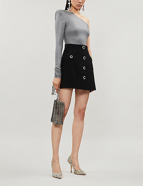 ALESSANDRA RICH A-line high-rise wool-blend skirt
