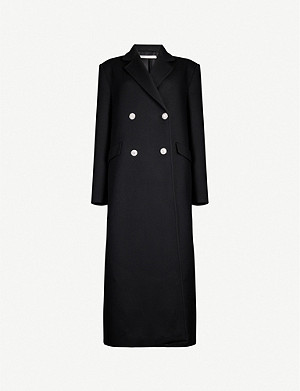 ALESSANDRA RICH Diamanté-button double-breasted wool-blend coat