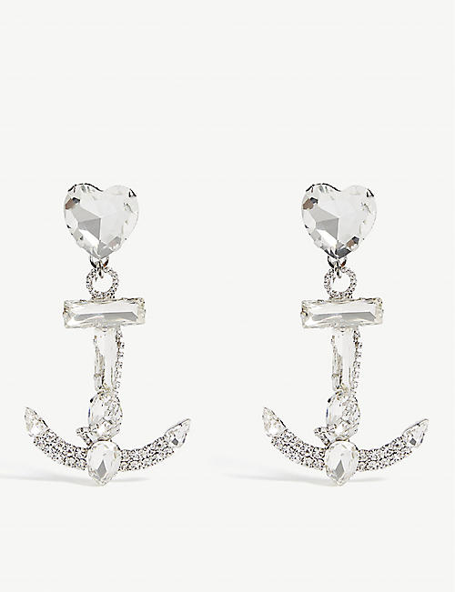 ALESSANDRA RICH Heart anchor clip-on earrings