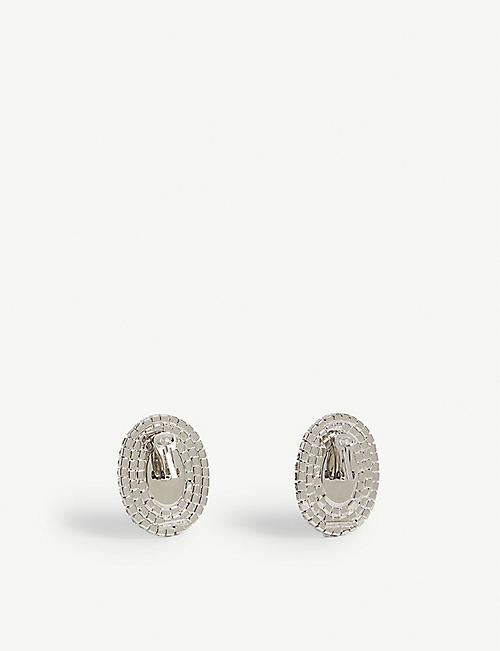 ALESSANDRA RICH Crystal oval clip-on earrings