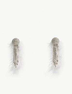 ALESSANDRA RICH Marabou feather and crystal drop earrings