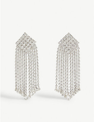 ALESSANDRA RICH: Crystal square drop earrings