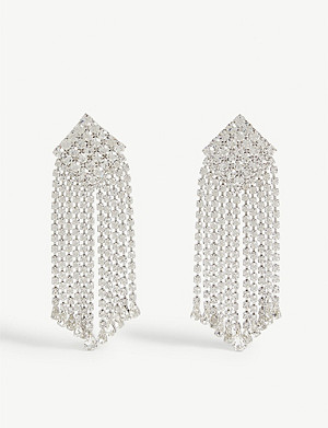 ALESSANDRA RICH Crystal square drop earrings