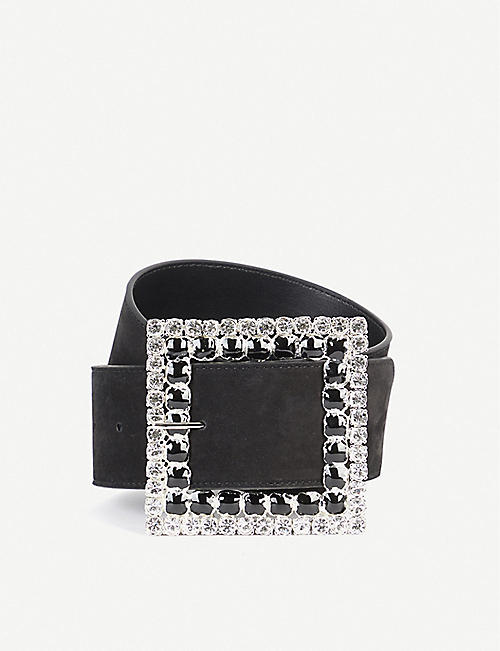 ALESSANDRA RICH Crystal-embellished suede belt