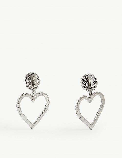 ALESSANDRA RICH Crystal heart drop earrings