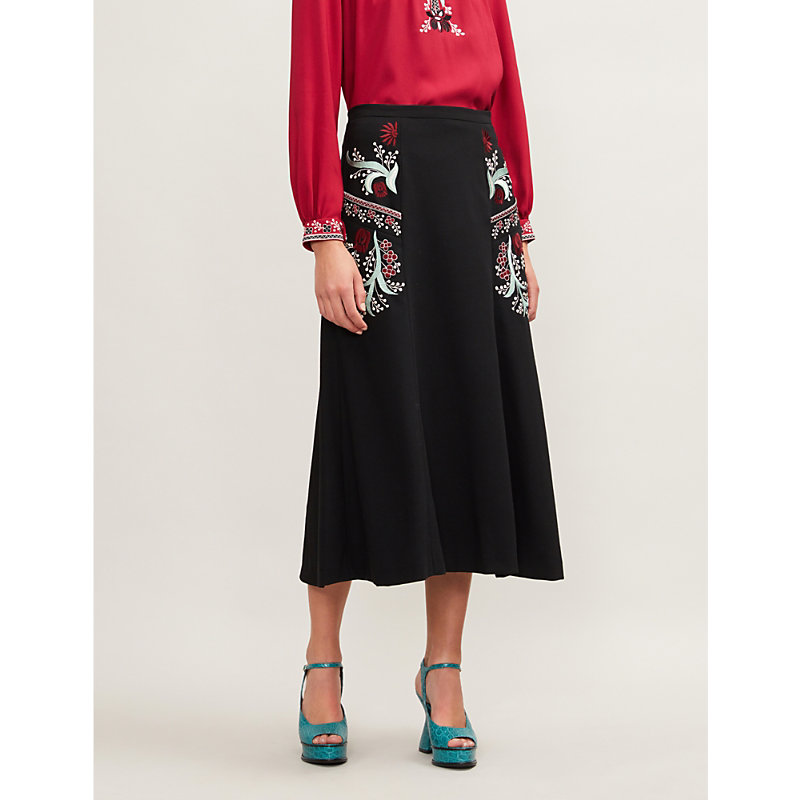 VILSHENKO Ally Embroidered Stretch-Wool Midi Skirt in Black