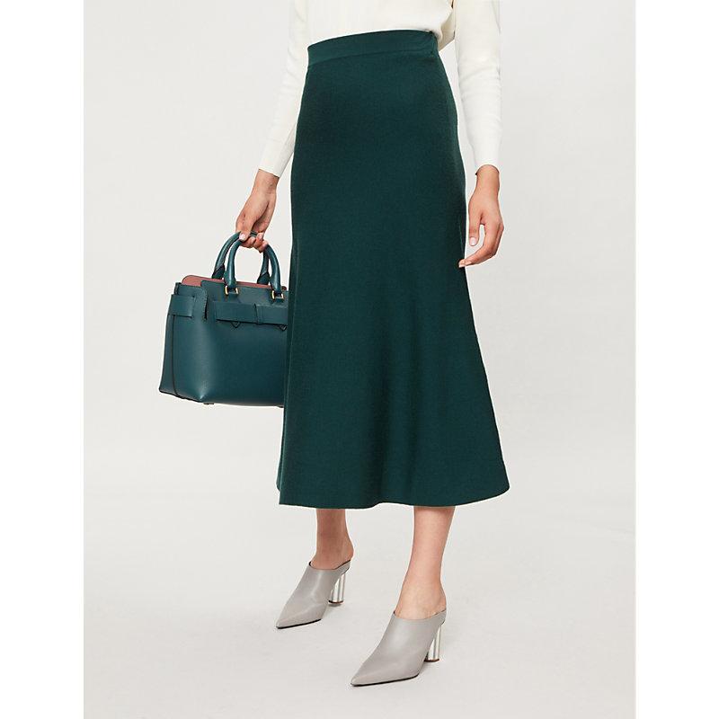 Freddie Wool-Blend Midi Skirt, Evergreen