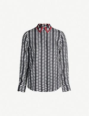 462f0f5a416 GABRIELA HEARST · Henri geometric-print silk-twill shirt