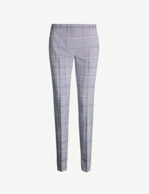 GABRIELA HEARST Lisa checked high-rise straight wool and silk-blend trousers